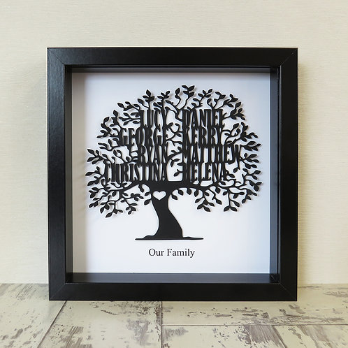 Paper Cut Family Tree Box Frame