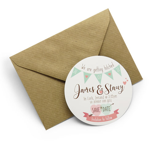 Bunting Save the Date Personalised Magnets with Envelopes