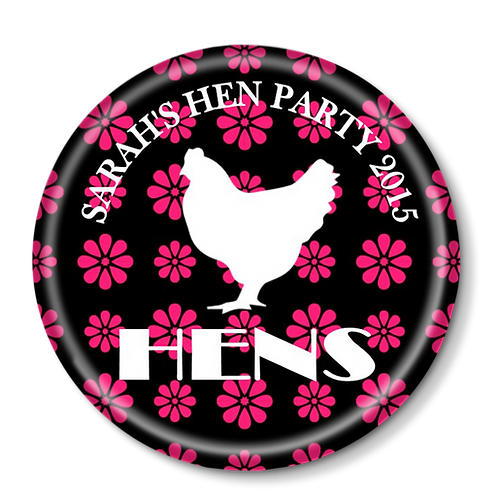Flower Hen Silhouette Hen Party Badges 12+