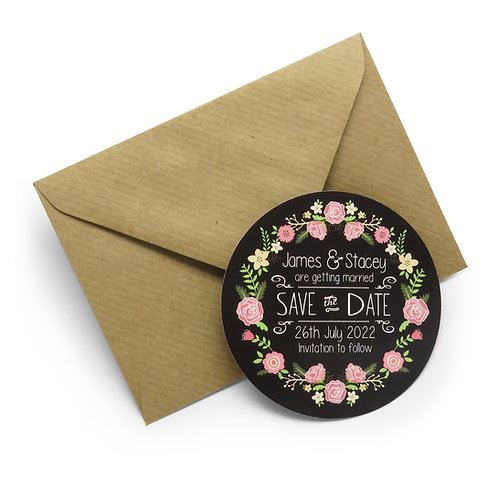 Floral Chalkboard Save the Date Personalised Magnets with Envelopes
