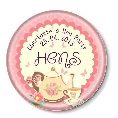Tea Party Hen Party Badges 12+