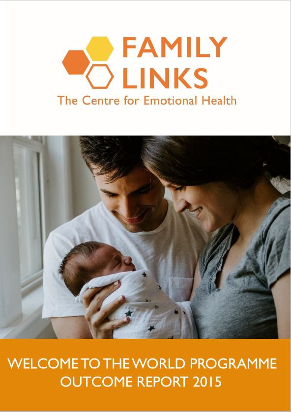 Family Links Welcome to the World Programme Outcome Report 2015 front cover. The Family Links logo is at the top of the page, underneath is an image of a Mother and Father holding their newborn baby, who is wrapped up in a white blanket with blue stars on