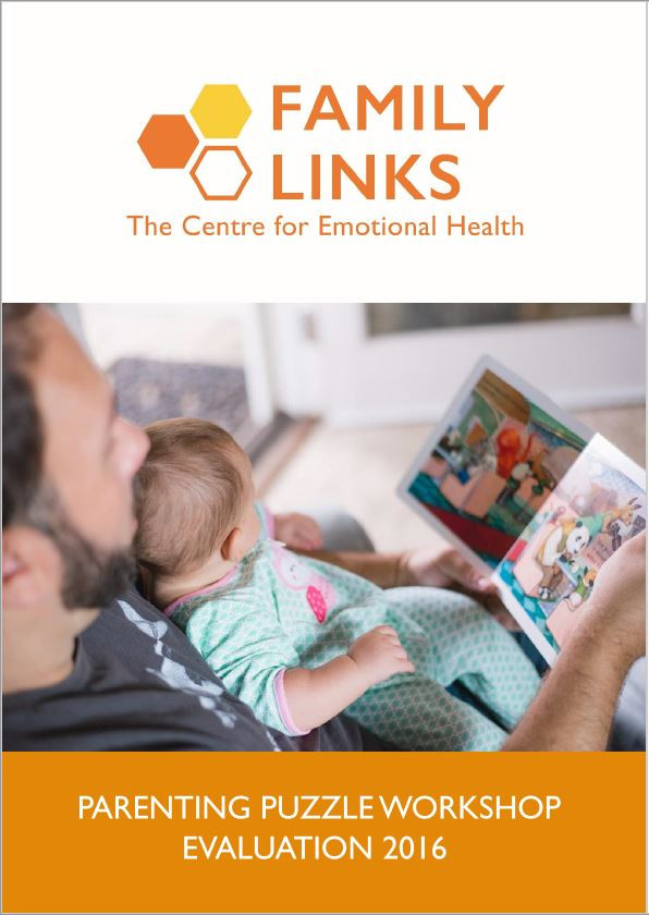 Family Links Parenting Puzzle Workshop Evaluation 2016 Report front cover. The Family Links logo is at the top of the page, underneath is an image of a father reading a colourful book to their newborn baby