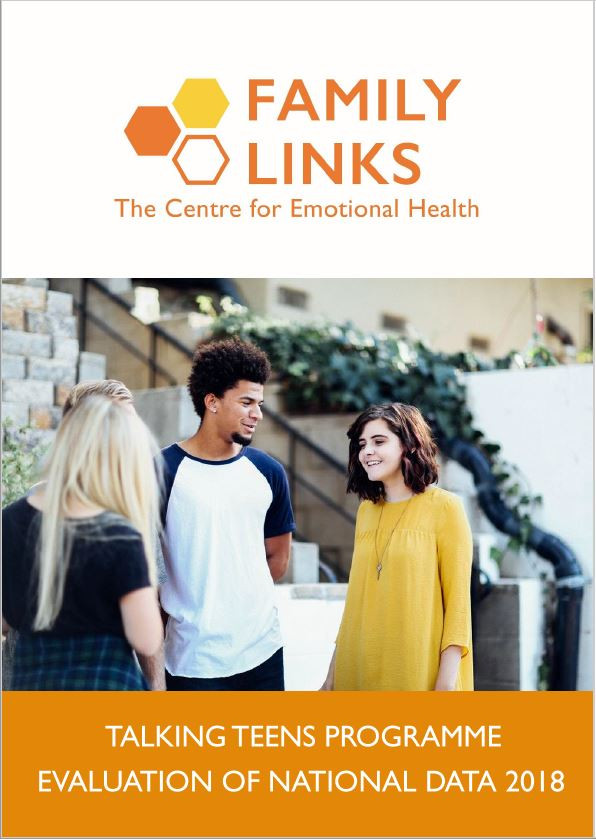 Family Links Talking Teens Report 2018. The Family Links logo is at the top, underneath is an image of three teenagers talking to each other outside by a staircase.