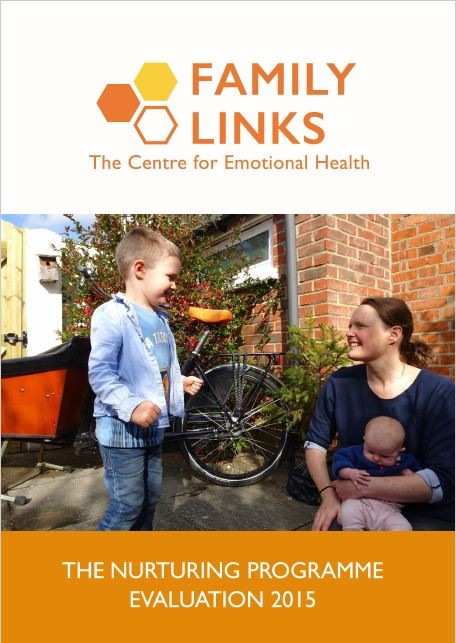 Family Links The Nurturing Programme Evaluation 2015 Report front cover. The Family Links logo is at the top of the page, underneath is an image of a mother holding a baby girl on her lap, talking to her young son in the garden.