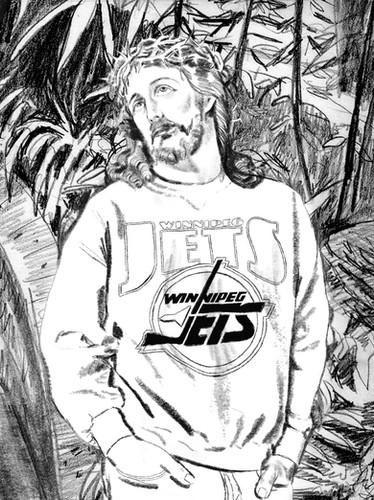 Jesus Christ in a Jets Sweatshirt at the Old Assiniboine Park Conservatory