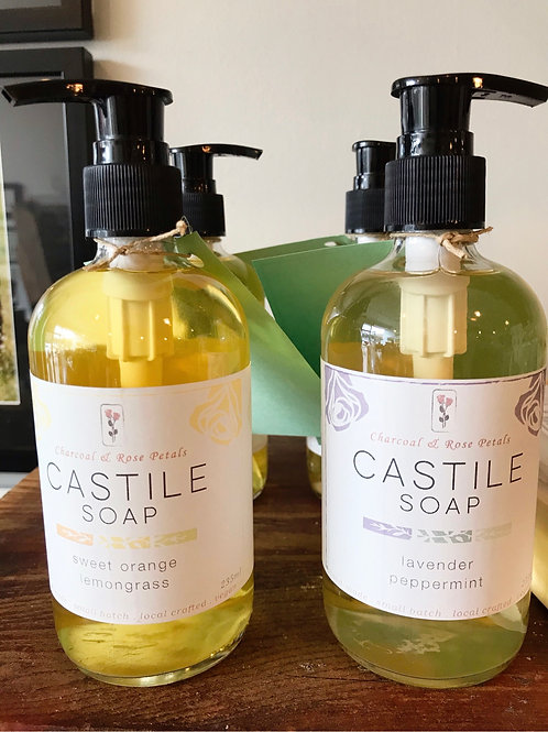 Liquid Castile Soap - Charcoal & Rose Petals
