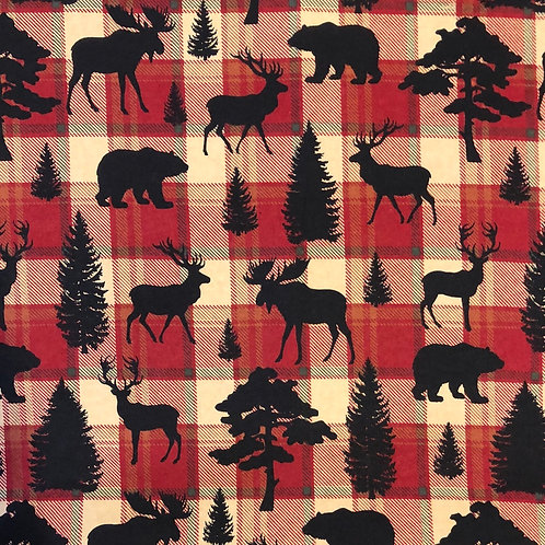 Animal Silhouettes On Plaid