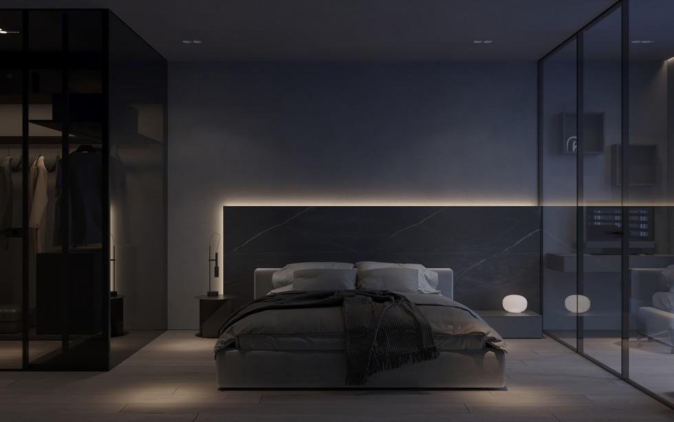 Спальня в стиле модерн, минмализм, от студии дизайн интерьера УММ5