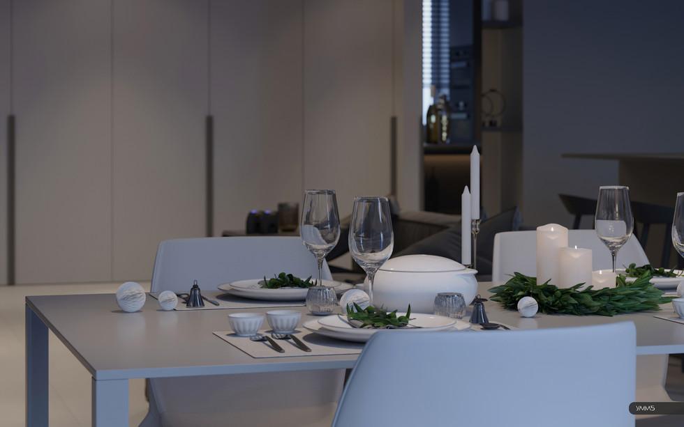 Дизайн интерьера кухни столовой обеденного места Студия дизайна и архитектуры УММ5