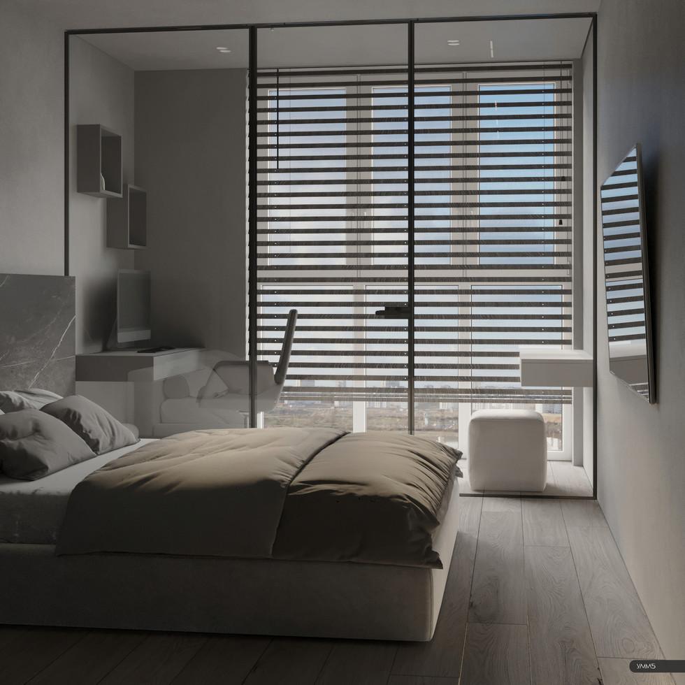 Дизайн интерьера спальни с кабинетом с гардеробом Студия дизайна и архитектуры УММ5