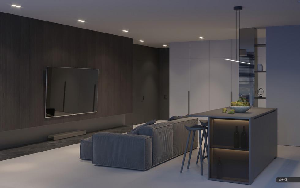Дизайн интерьера тв зоны гостинной зала Студия дизайна и архитектуры УММ5