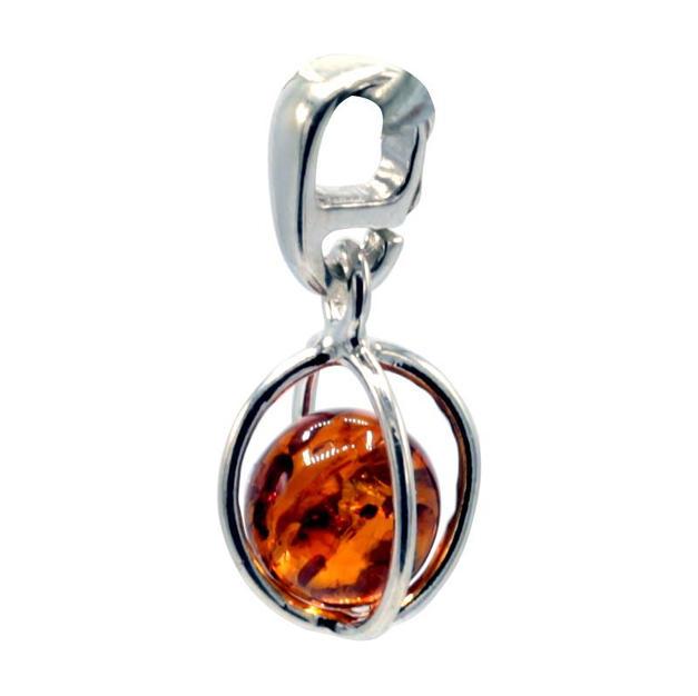 Hanger sterling zilver met amber kogel 1