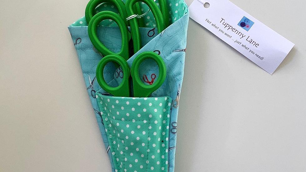 Scissors Holder/Case - Green & Turquoise