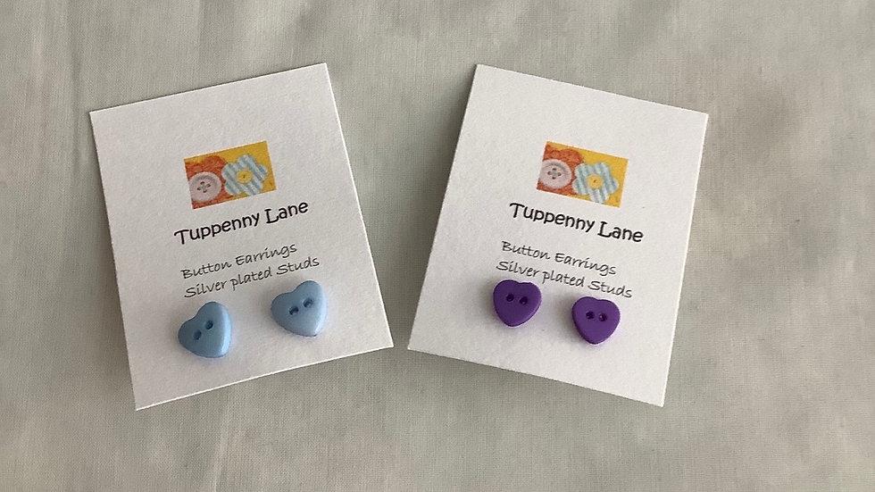 Heart shaped Button earrings