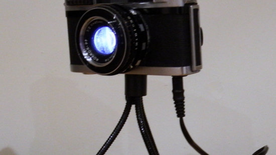 Feature Lamp from upcycled Minolta camera