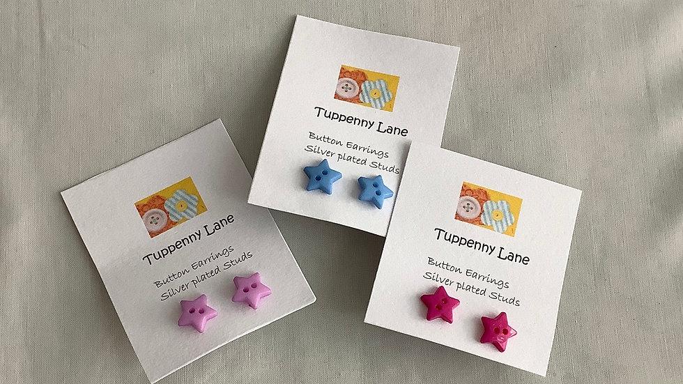 Star Button Stud Earrings
