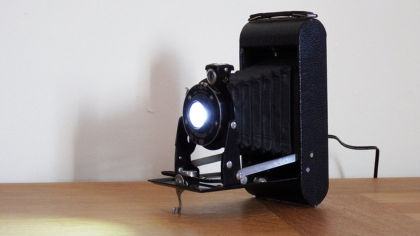 Feature Lamp from upcycled Kodak camera