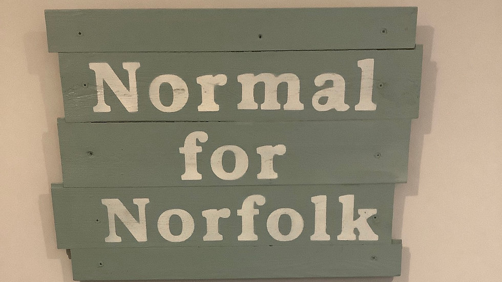 Shabby chic Normal for Norfolk hanging wall sign