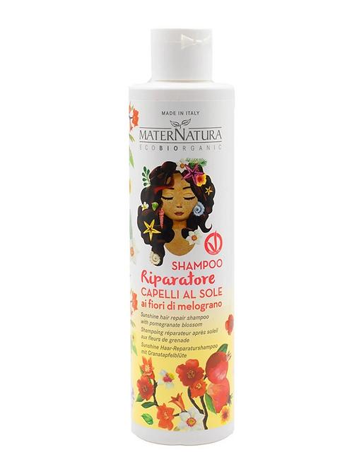 Shampoo riparatore capelli al sole ai fiori di melograno - MaterNatura