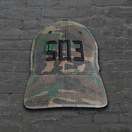 503 Washed Camo Flexfit Dad Hat