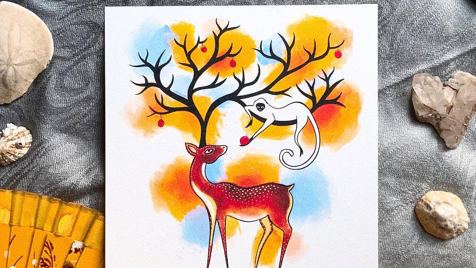Deer and Monkey - Print