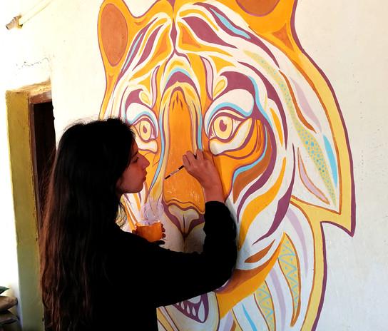 Tiger mural, India 2020