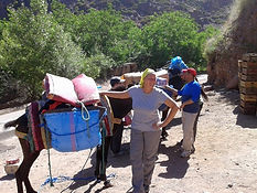 Karima with the team, packing up the mules for the trek