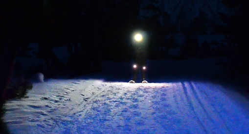 Snowshoe walker with LED light system showing wide peripheral views