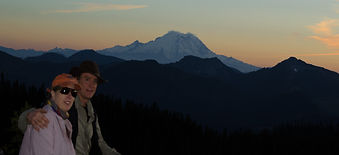 ofunders of nulumina at sunset after hiking with Mt Rainier