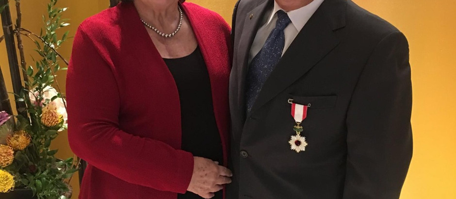 Don receives Order of the Rising Sun, Gold and Silver Rays from the Consul General of Japan