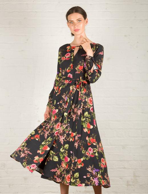Zoe Dress - Black Floral Print