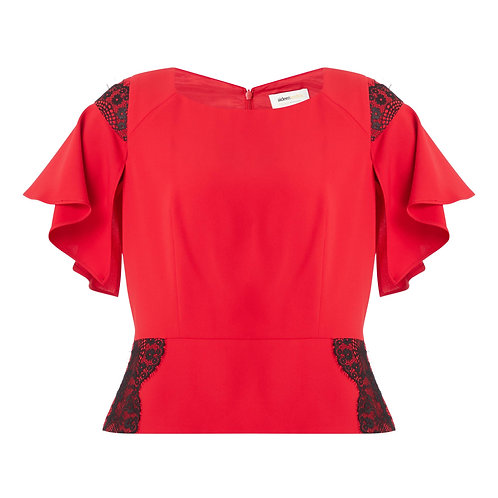 Aster 2382 red lace trim top