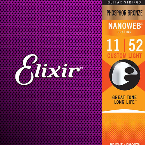 Elixir Phosphor Bronze NanoWeb Acoustic Guitar Strings 11-52 Custom Light