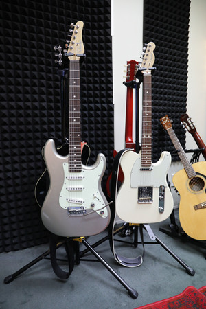 Schecter Stratocaster and Fender Telecaster electric guitars