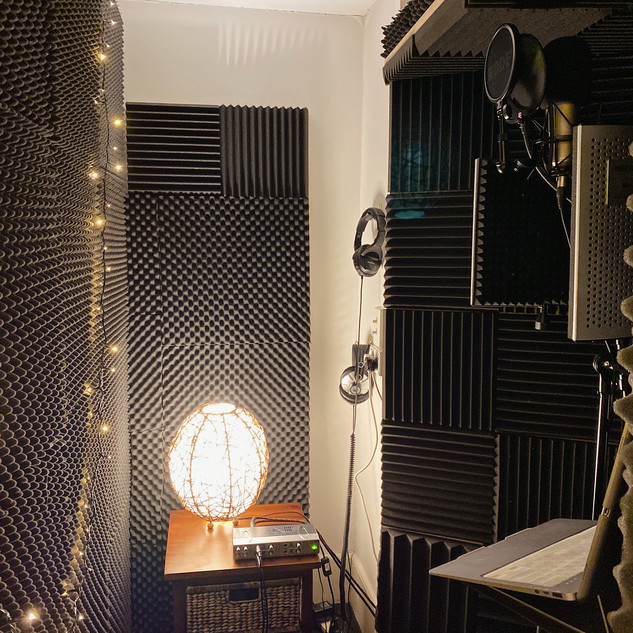 Acoustically treated vocal booth with mood lighting