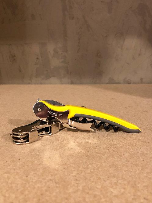 Murano corkscrew yellow/grey