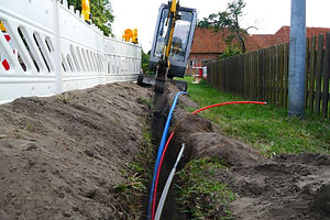 Fiber optic cable laying in the ground,