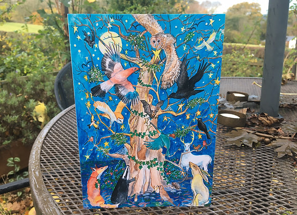 'Decorating the Yuletide Oak' greetings card