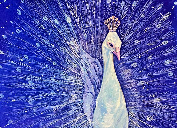 The White Peacock greetings card