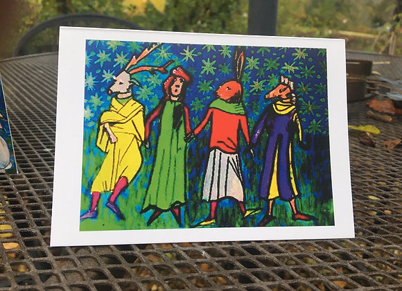 'The Mummers' greetings card