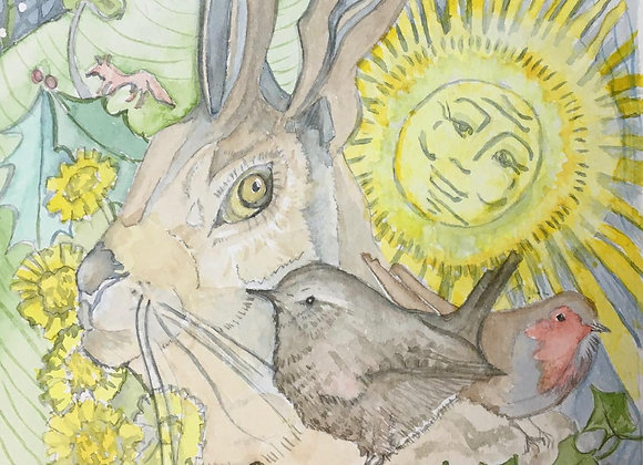 The Hare, the Wren and the Robin greetings card