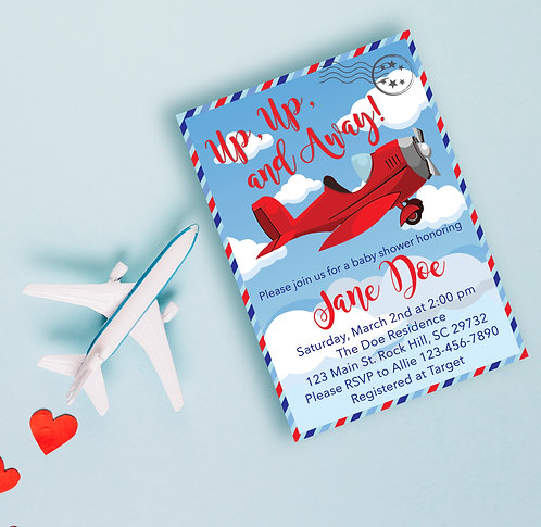 Airplane themed Baby Shower Invites
