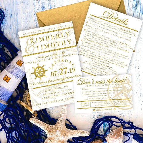 Boat themed Wedding Invitation Suite