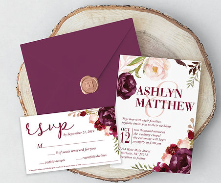 Marsala Wedding Invitations Suite