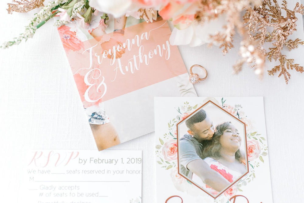 Rose Gold Wedding Invitation Suite