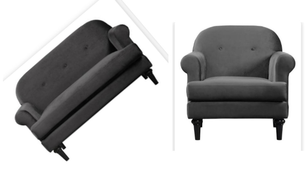Brand new in box Whitney velvet charcoal sofa and armchair