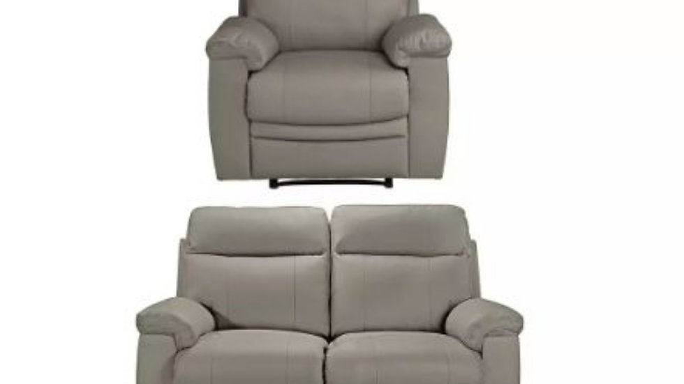 Real leather 1 + 2 seater recliner set