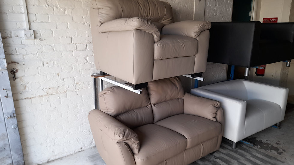 Genuine Leather 2 seater and arm chair