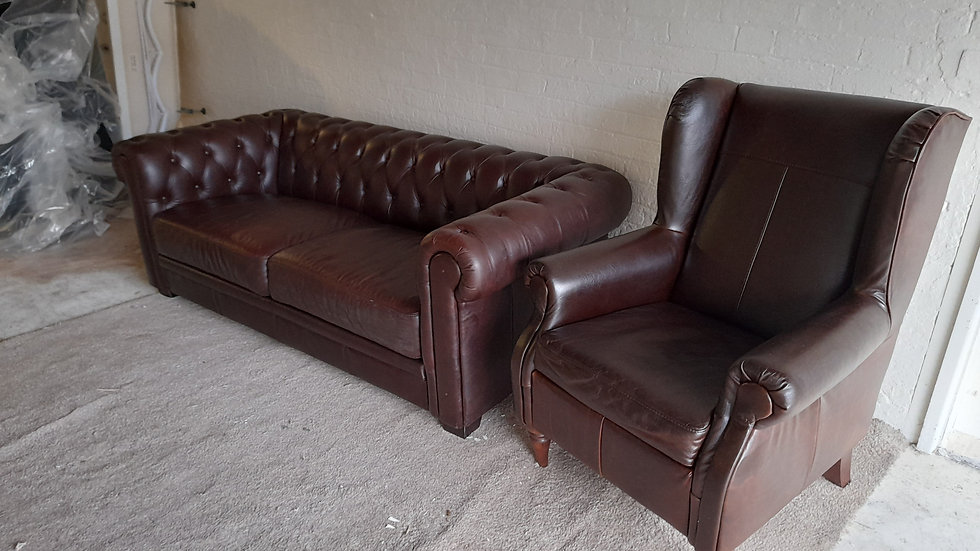 chesterflied and arm chair brown leather